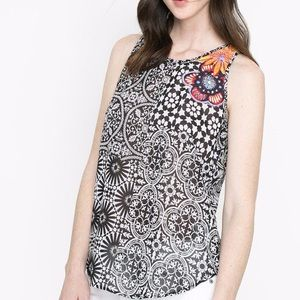 Desigual Sleeveless Top Black White Embroidered